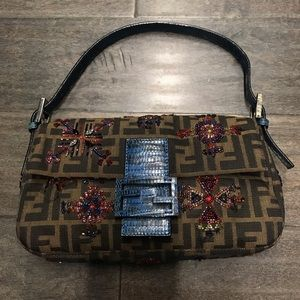 Fendi Zucca with beads and Lizard trim Exotic NEW